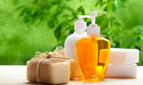 various kinds of bath amenities soap and liquid soap